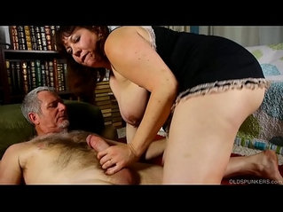 Super cute chubby old spunker loves cum all over her nice tits