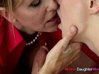 Mom And StepDaughter Giving Teen Boy Blowjob During Appealing