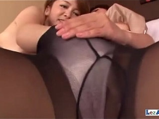 Asian Girls In Pantyhose Rubbing Tits Fucking With Doubledildo On The Couch