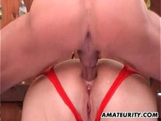 Chubby asian Milf gets anal strapon fuck in the backyard