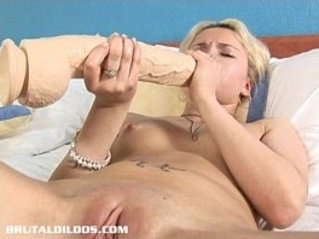 Blonde Russian fills her tight pussy fucked hard with a big brutal dildo
