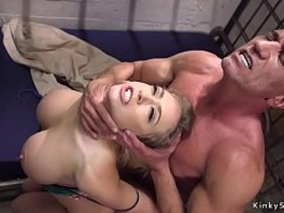 Huge round tits anal strapon fuck in bondage