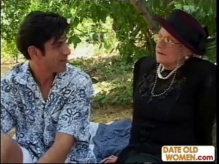 Granny gets his ass fucked in the woods like a whore