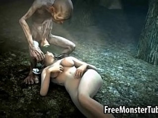 Foxy babe gets fucked in the woods by Gollum