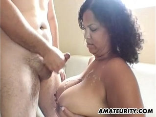 Black girlfriend plays with big tits in action