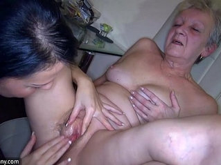 OldNanny Sexy black Girl and skinny mature have sex with toy