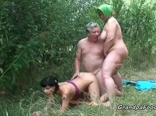 Beautiful brunette babe fucked by old dude
