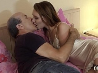Hot young blonde girl takes cum in mouth has her wet pussy fucked by grandpa