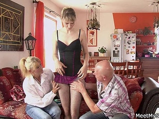 Mature threesome action tape with his GF
