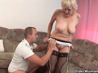 Grandma in stockings gets facial