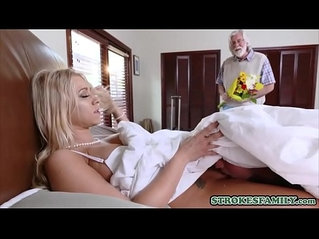 Horny stepson fucks his busty blonde stepmom in the bed