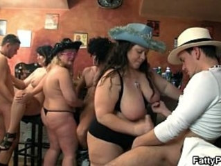 Group sex orgy in the pub