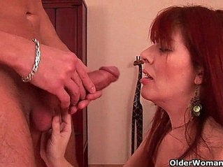 Grandma with cunt enjoys hard cock