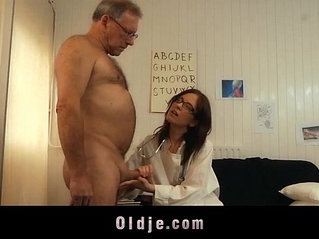 Young doctor fucking and sucking old patient cock with glasses