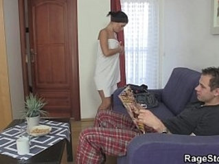 Forced blowjob fuck after shower