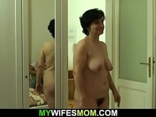 Son in law fucks her old hairy pussy