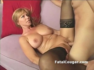 Amazing blonde with bigboobs bounces on fat dick with her hairy pussy to mouth