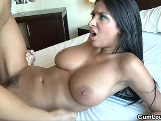 Anissa kate jerks cock with her massive boobies