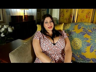 Beautiful busty BBW brunette talks dirty and fucks her fat juicy pussy