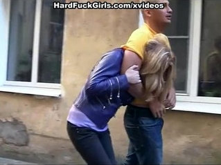 Sexy busty blonde caught and fucked in an abandoned house