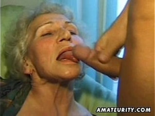 Old amateur mature busty wife sucks and fucks with big cumshot
