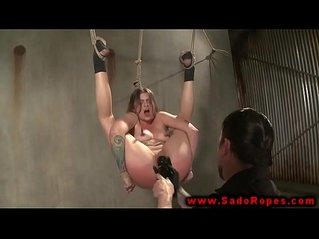 Hogtied suspended sub bdsm with her master
