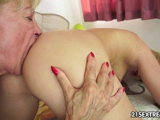 Young and old lesbian love playing with big ass black dildo fun